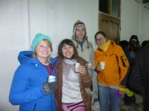 With some of the others in our group enjoying the local brew!